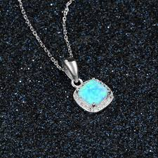 opal necklace silver images 925 sterling silver classic square blue opal necklace zirconia jpg
