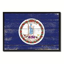 State Flag Of Virginia State Shabby Chic Flag Home Décor Office Wall Art Rustic Vintage