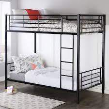 Twin Bed Vs Double Bed Amazon Com Walker Edison Twin Over Twin Metal Bunk Bed Black