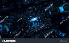 3d illustration futuristic design spaceship interior stock