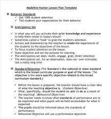 lesson plan template hunter sle madeline hunter lesson plan template 9 free documents in