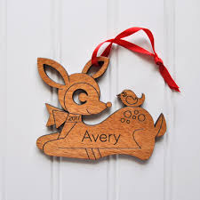 deer ornament handcrafted wooden personalized christmas ornament