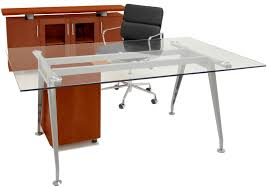 Glass Table Desk Credenza  Mobile File Furniture Package