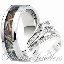 camo wedding rings for men mens and womens camo wedding ring sets