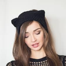 winter headbands knitted winter headband black cat ears headband with ears ear