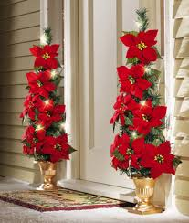 lighted flat back poinsettia tree decoration from collections etc