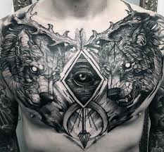 guys sketched all seeing eye wolves chest tattoos