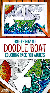 free printable coloring page for adults doodle boat
