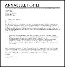 job covering letter samples quality auditor cover letter sample livecareer