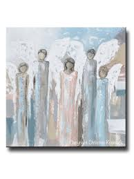 Abstract Home Decor Original Abstract Angel Painting 5 Guardian Angels Home Decor Wall