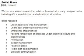 stay at home mom description for resume 2625