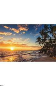 landscape of paradise tropical island beach wall mural