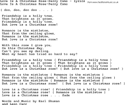 love song lyrics for love is a christmas rose perry como