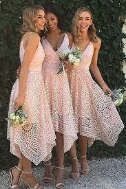 lace bridesmaid dresses a line spaghetti straps asymmetrical pink lace bridesmaid dress