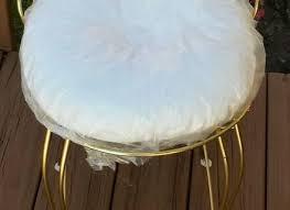 Shabby Chic Vanity Chair Vintage Mid Century Modern Ottoman Chrome Stool Vanity Chair