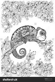 holly hobbie coloring pages chameleon on the tree coloring page shutterstock 442151002