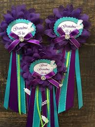 Turquoise Corsage 1 Small Baby Shower Grandma Pin Purple And Turquoise Corsage