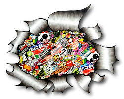 jdm sticker bomb large ripped torn metal design with colour jdm drift style