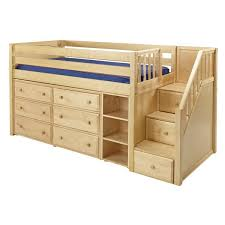 Bookcase With Drawers Maxtrixkids Great1 Np Low Loft Bed With Staircase 6 Drawer