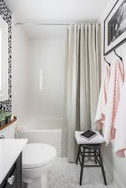 Bathrooms With Shower Curtains Bathroom With Gray Grommet Shower Curtain Transitional Bathroom