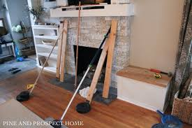brick fireplace makeover with airstone pine and prospect home