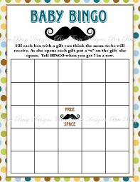 printable little man mustache baby shower bingo game instant