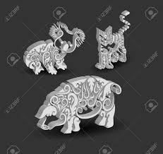 animal engraving ornaments 3d koala cat and pig royalty free