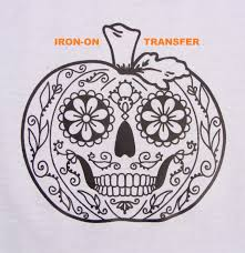 pumpkin sugar skull transfer iron on heat press diy for t shirts