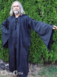 druidic robes robe black occult wicca wiccan witch golden magik