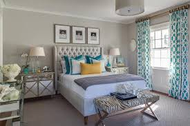 Blue And Gray Bedroom Trellis Curtains Contemporary Bedroom Beach Glass Interior