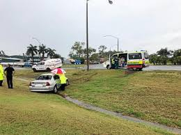 firies free woman crash wreckage major roundabout