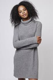 topshop polo neck jumper dress by glamorous in gray lyst