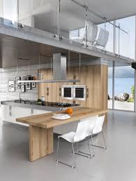 cuisine bois et inox cuisine design blanche et bois