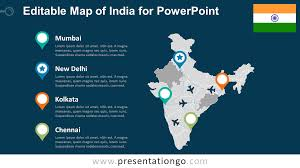 Map Of India With States by India Editable Powerpoint Map Presentationgo Com