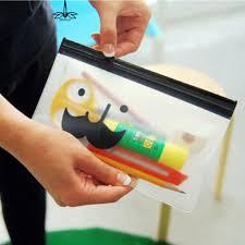 pochette bureau transparent moustache sourire bureau cosmétique up crayon sac