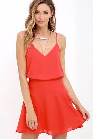 sleeveless dress chic coral dress sleeveless dress fit and flare dress 64 00