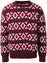 sweater brands raf simons geometric jumper burdundy clothing jumpers sweaters