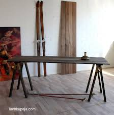 lazyhorze old barn standing desk table trestles wood legs