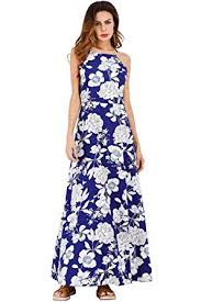 ayliss women u0027s halter backless maxi dress royal blue with white