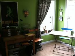 the paint color is behr herbal garden my art table is a 1920s