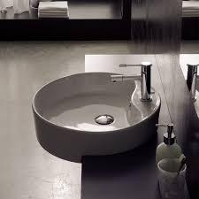 semi recessed bathroom sinks scarabeo 8029 d by nameek s geo round white ceramic semi recessed