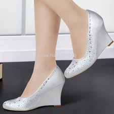 silver wedding shoes wedges get cheap satin bridal shoes wedding wedge heels