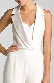 white tuxedo jumpsuit lyst theia sleeveless silk jumpsuit in white