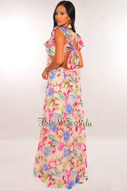 how to cut out the back of a cabinet floral print ruffle cut out tie up back maxi dress