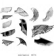royalty free vector of logos of black and white wing designs by