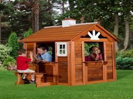 wood play house cedar cottage playhouse kid outdoor costco cedar