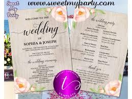Wedding Programs Fans Templates Floral Wedding Program Fan Template Printable Boho Wedding Program