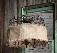 Burlap Chandelier Rustic Basket Chandelier With Burlap Antique Farmhouse