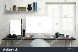 computer display on office desk isolated stock photo 403479418
