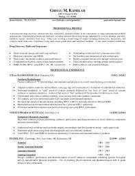 Chemist Resume Samples by Kamilar Resume